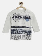Losan Boys Off-White & Navy Blue Printed Round Neck T-shirt