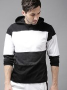 HERE&NOW Men White & Black Colourblocked Hooded T-shirt