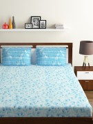 Blue & White Floral 130 TC Polycotton 1 Double Bedsheet with 2 Pillow Covers
